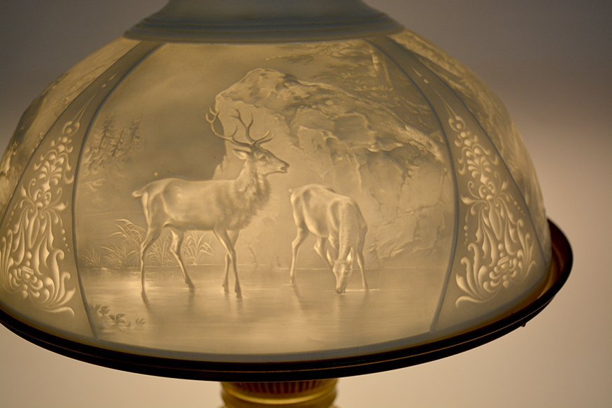 Student Brass Lamp With Hunting Scene Shade. - 9