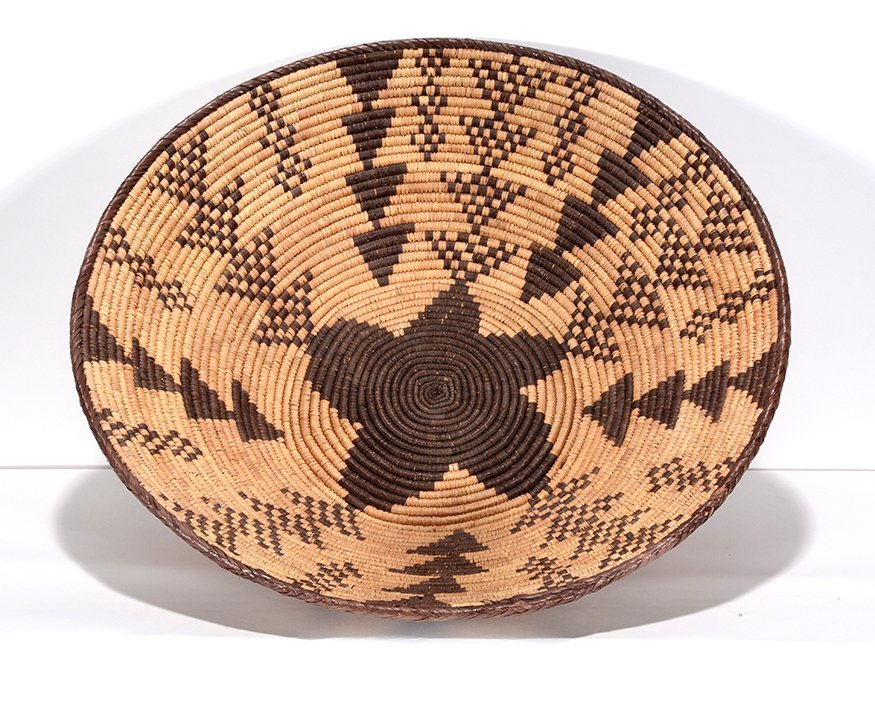 Native American Star & Triangle Design Harvest Basket.