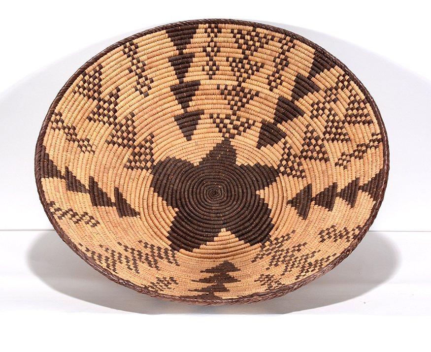 Native American Star & Triangle Design Harvest Basket.