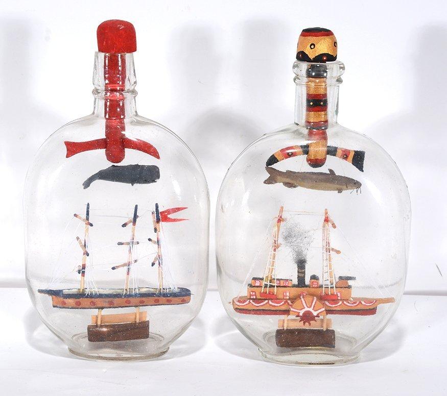 Steven Moseley. Pair Of Ships In Bottles.