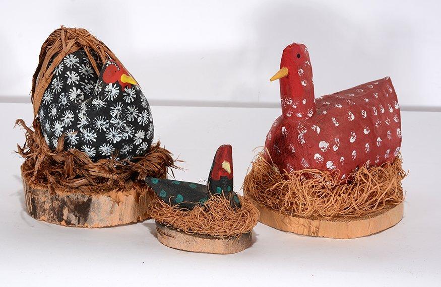 Yazzi Family. Three Hens In Nests.