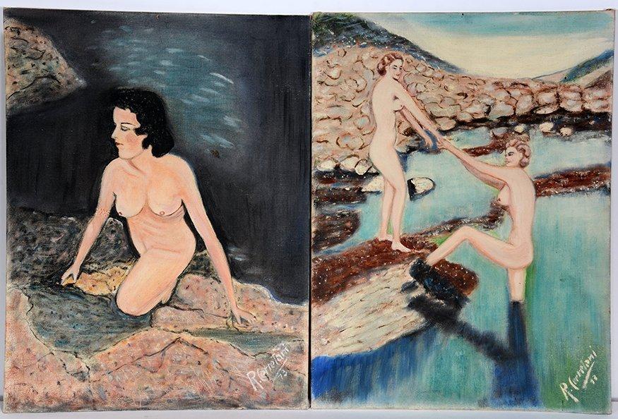 R. Cerretani. Lake Scenes With Nude Women.