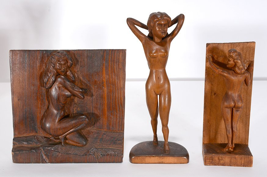 Anonymous Erotica Three Nude Women Carvings.