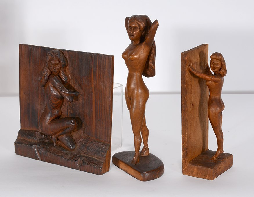Anonymous Erotica Three Nude Women Carvings. - 2