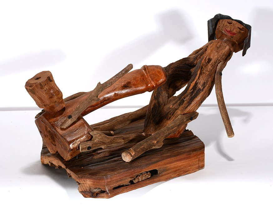 Jerry Peters. Large Wooden Erotic Couple. - 2
