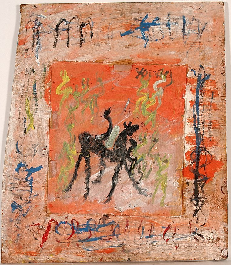 Purvis Young. Horse And Rider On Orange.