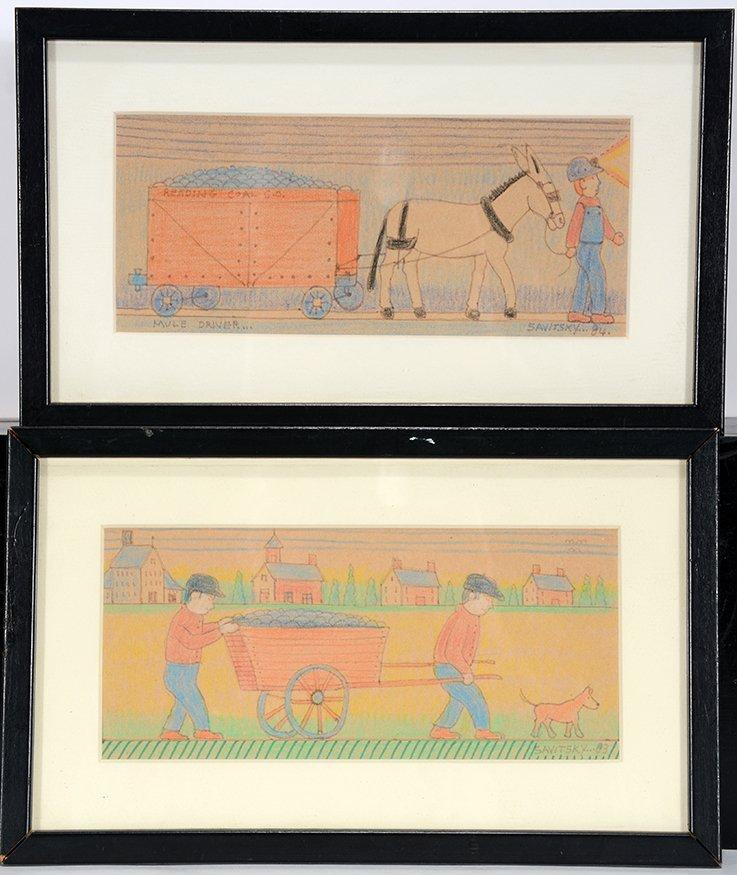Jack Savitsky. Pair Of Box Top Drawings.