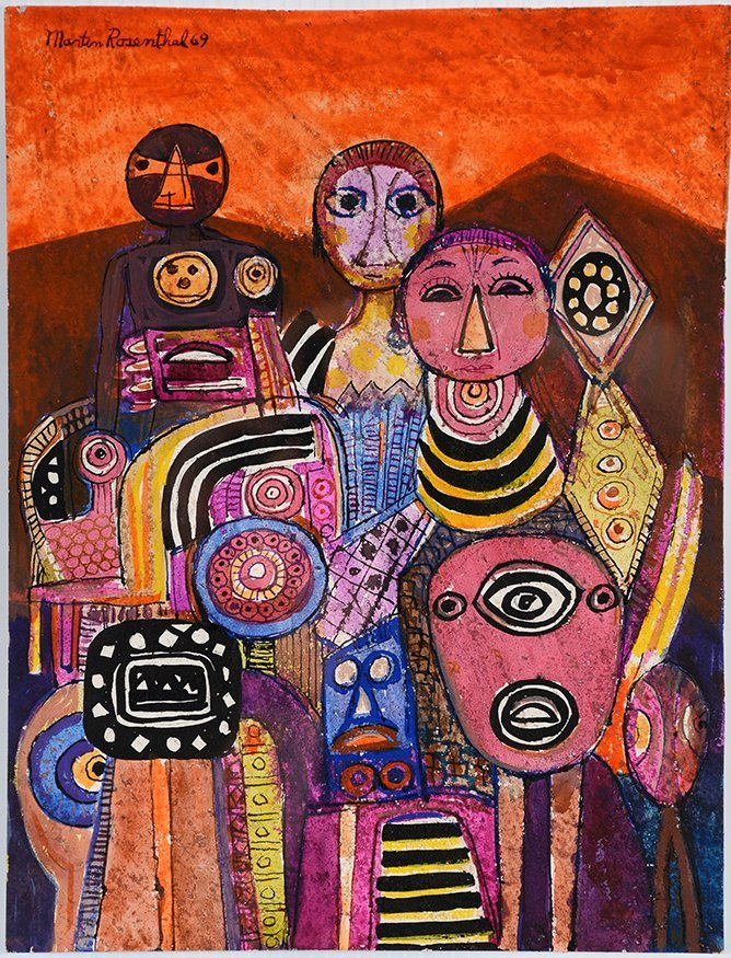 Martin Rosenthal. 3 Faces & Figures On Orange