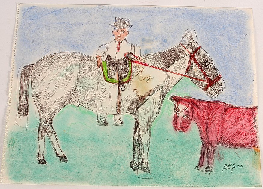 S.L. Jones. Man With Large Horse And Red Cow.