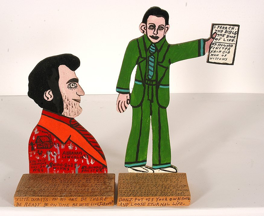 Howard Finster. Lincoln & Howard With Bible.