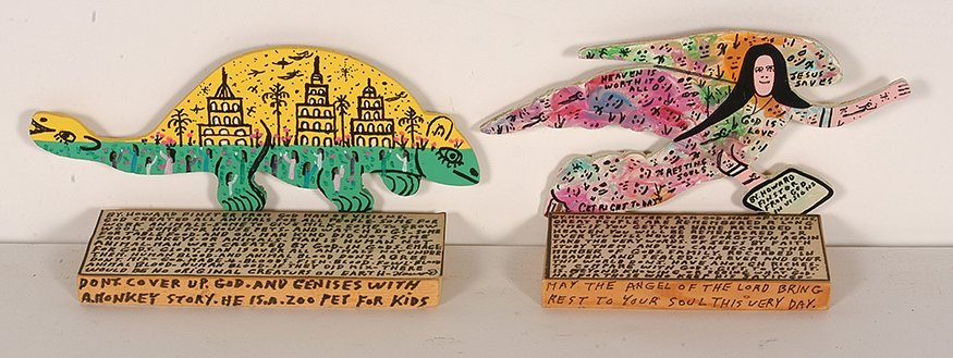 Howard Finster. Yellow Creature and Angel.