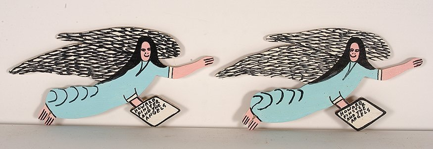Howard Finster. Pair Of Consecutive Angels.