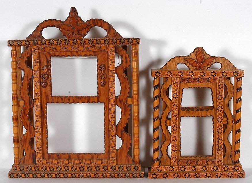 Howard Finster. Pair Of Clock Cases.