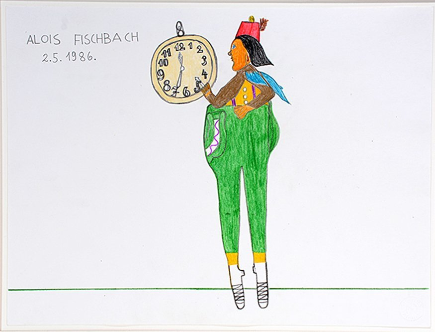 Alois Fischbach. Man Holding Clock.
