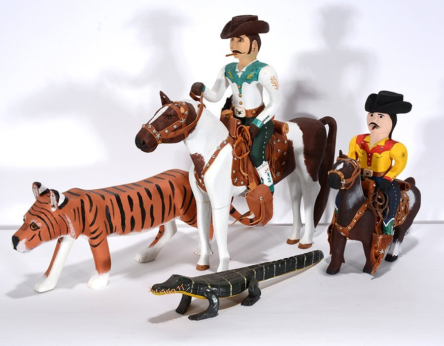 Ivy Billiot. Two Cowboys, Tiger & Gator.