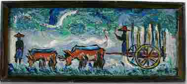 Andre Boucard. Men With Ox Cart