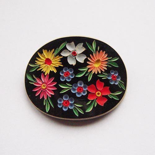 Old Handmade Ceramic Brooch Well Preserved