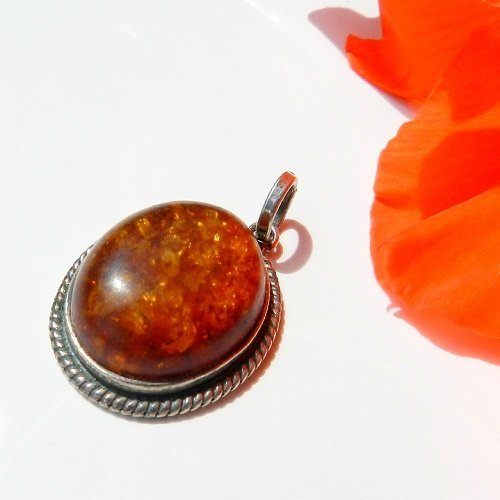 Vintage Silver Pendant With Cognac Color Baltic A