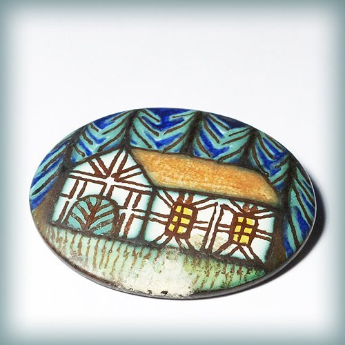 Handmade And Painted Brooch From Germany, Made Fr