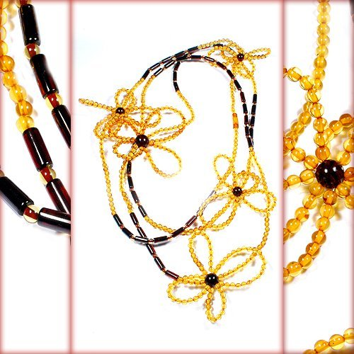 Flowers Design Baltic Amber Long And Beautiful Sm
