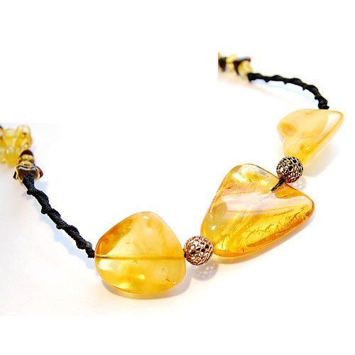 Necklace Handmade From Honey Color Baltic Amber