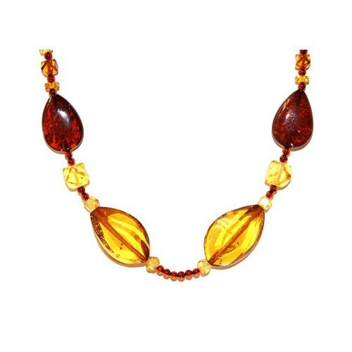 Necklace Made From Honey And Dark Cognac Color Am