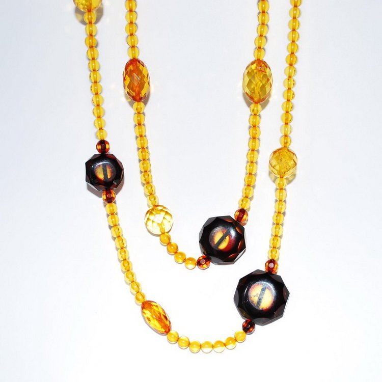 Adorable Two Rows Baltic Amber Round And Faceted