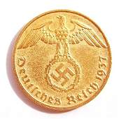 1 Pfennig Coin Made in 1937 in Germany. 24 Carat