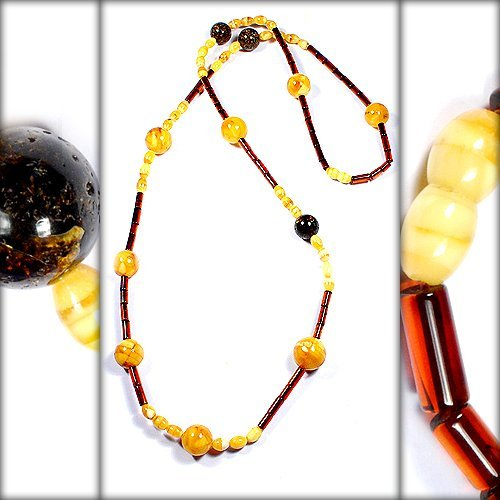 Natural Baltic Amber Mosaic Glued Beautiful Polis