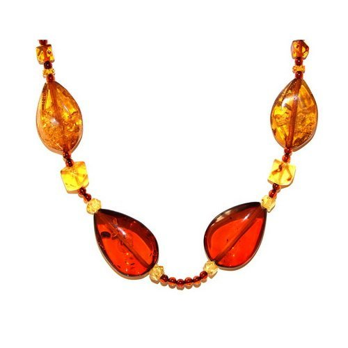 Necklace Made Honey And Dark Cognac Color Amber