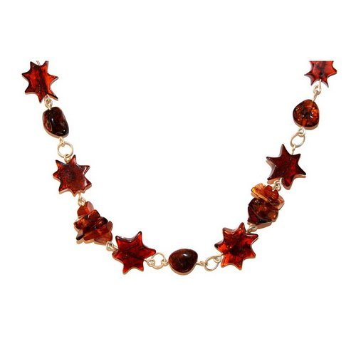 Stars Cut Baltic Amber And Silver Necklace