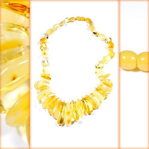 Gorgeous Necklace Made From Citrine And Milky Col