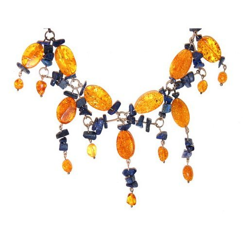 Amber, Silver And Azurite Stones Necklace