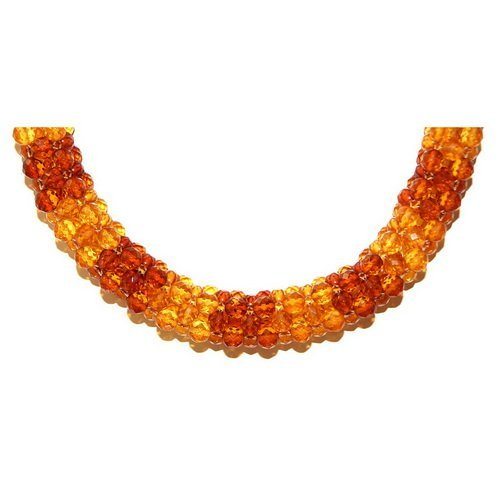 Wreathed Faceted Baltic Amber Beads Necklace