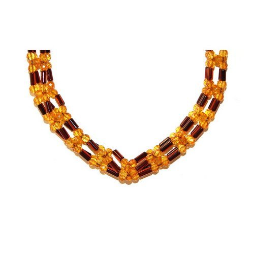 Wreathed And Faceted Beads Baltic Amber Necklace