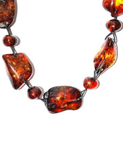 Massive Necklace From Baltic Amber Pieces And Lea