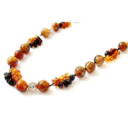 Expressive Necklace Made From Baltic Amber And Si