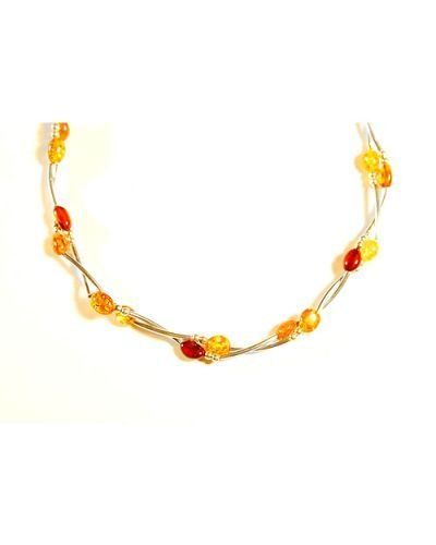 Two Rows Necklace From Silver And Baltic Amber
