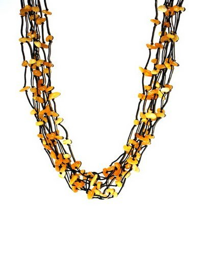 Long Multistrand Necklace From Many Butter Color