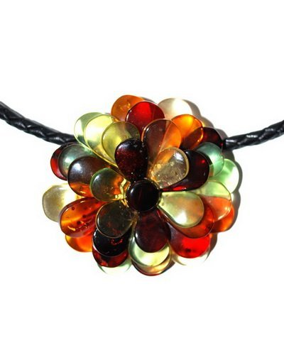 Flower Form Colorful Amber Pendant - Brooch With