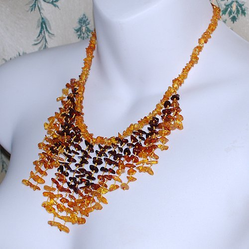 Multistrand Necklace From Fine Colors Amber Bead