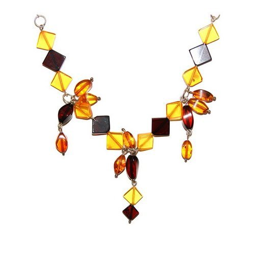 Polished Baltic Amber And Silver  Necklace