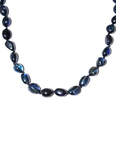 Necklace Made From Deep Blue Caribbean Amber Oval