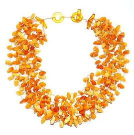 Multistrand Necklace From Butter Color Genuine Ba