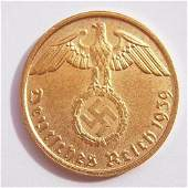2 Pfennig Coin Made in 1939 in Germany. 24 Carat