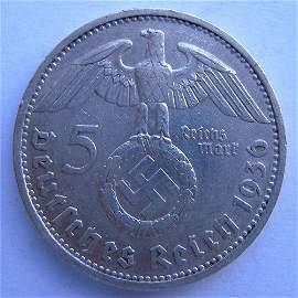 Silver Coin. German III Reich, 5 Mark Coin Made i