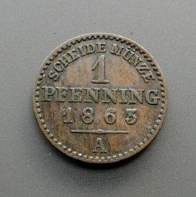 . 1 Pfennig Bronze Coin From 1865.german Empire.