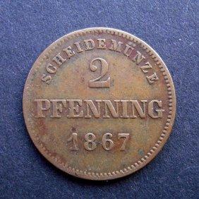 . 2 Pfennig Coin. Made In 1867. Made In German Em