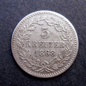 5 Kreuzer Coin. Made In 1868. Made In German Emp