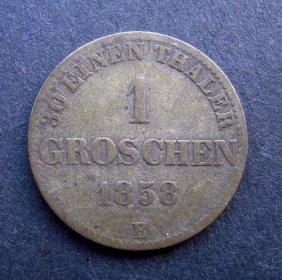 1 Groschen Coin. Made In 1858. Made In German Em